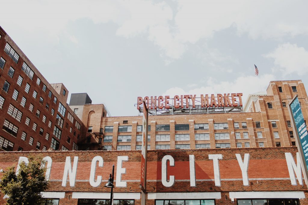 Outside view of mixed-use development called Ponce City Market in Atlanta, GA.